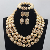 African Gold Beaded Wedding Jewelry Sets Gold Chunky Costume Celebration Necklace Set Christmas Gift Free Ship QW548