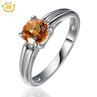 Hutang 100 Natural Citrine 6mm Gemstone Ring Genuine Pure 925 Sterling Silver Simple Fine Jewelry November