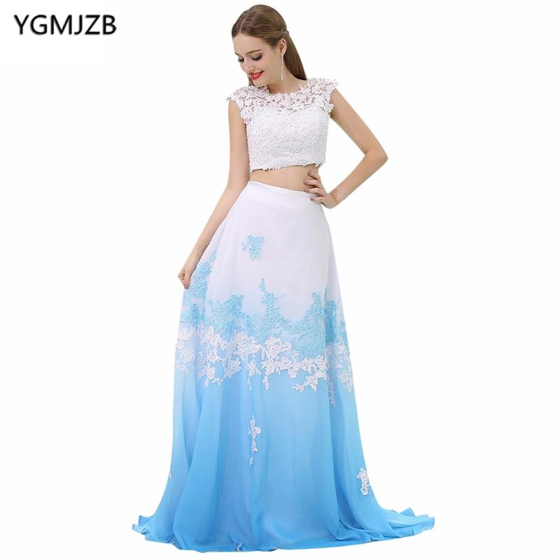 Long   Evening     Dresses   2018 A Line Scoop Cap Sleeve Two Piece Prom   Dress   Appliques Lace Chiffon Prom   Evening   Gown Vestido De Festa