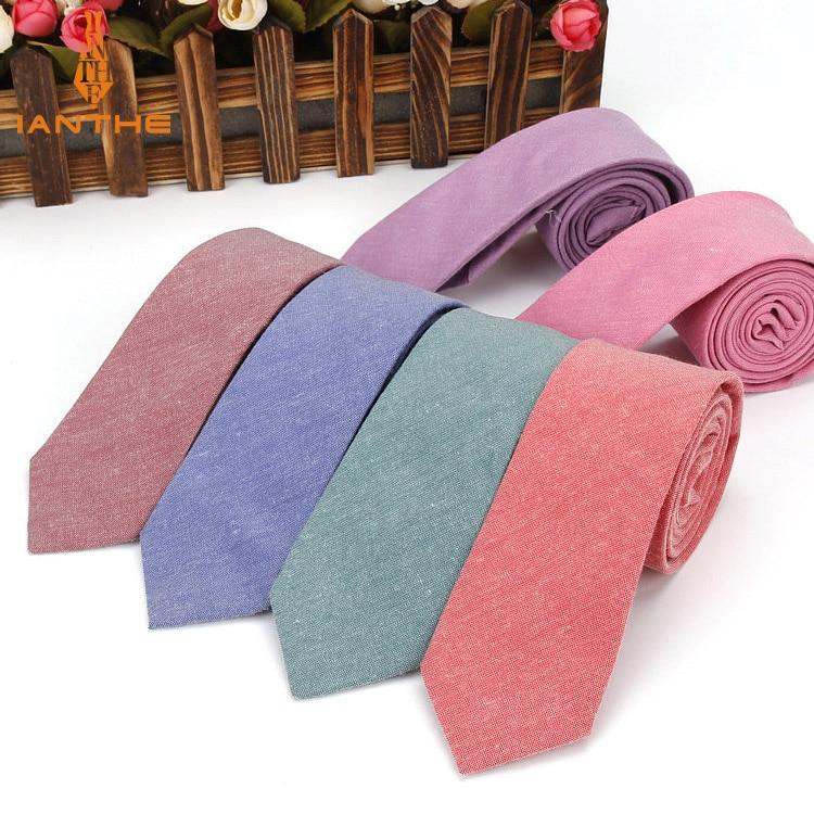 Ianthe Brand New Mens Tie Solid Plain Slim Skinny Narrow Gravata Necktie Ties For Men Formal Wedding Party Cotton Neck Ties