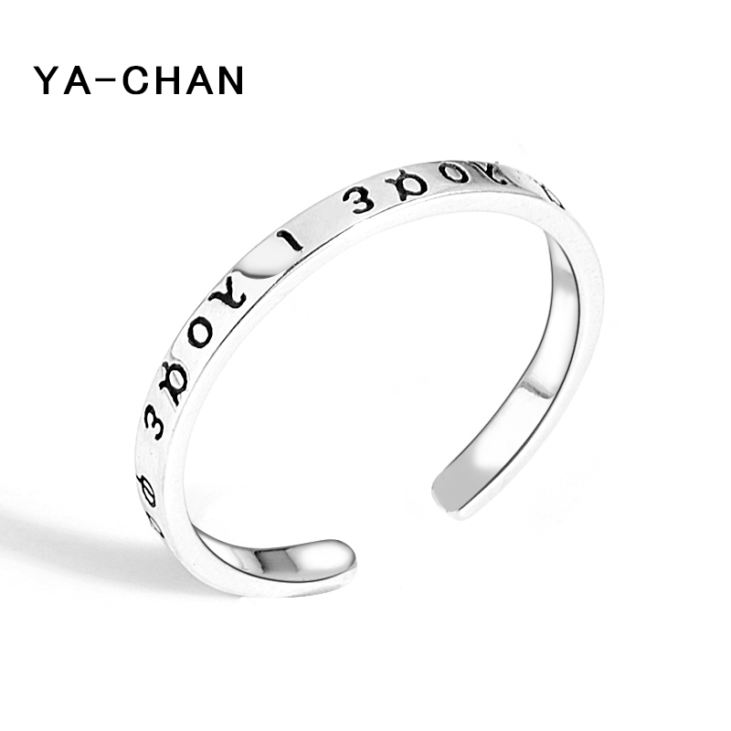 Simple Stackable 925 Sterling Silver Letter Open Rings For Women Lover Adjustable Cuff Rings Wedding Fine Jewelry Gift