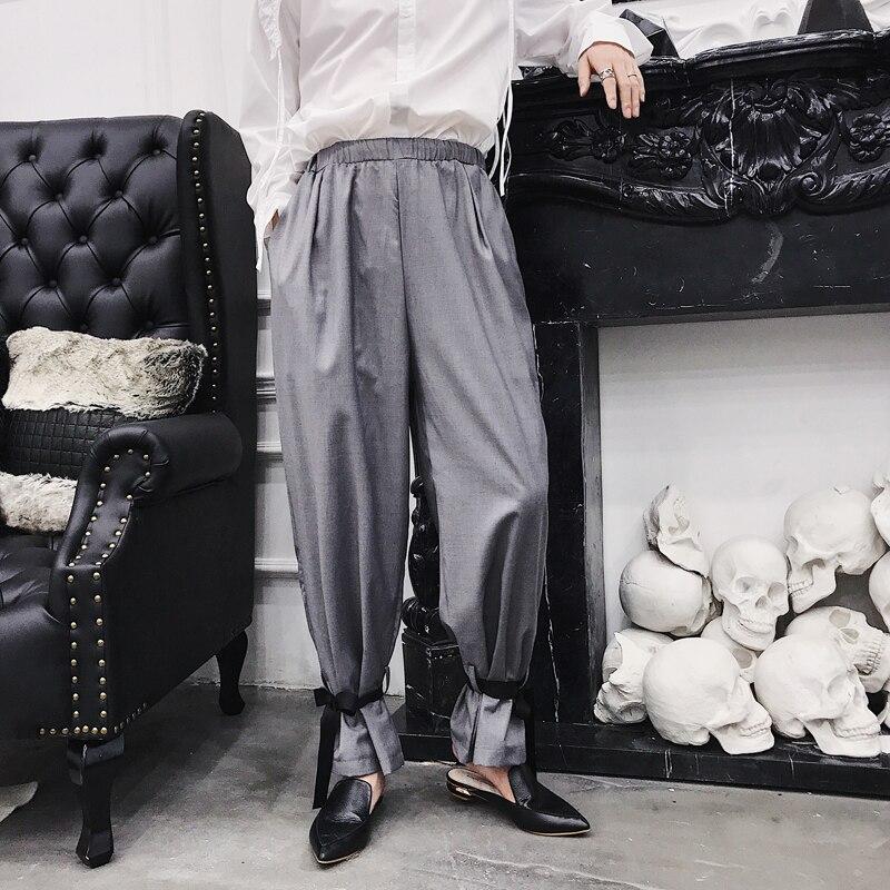 Homme taille élastique pantalon japonais Harajuku noir gris kaki pantalon hommes décontracté lâche Harem pantalon