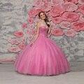 Vestidos quinceanera sexy ainda organza lace up com beading cristal rosa 2017 vestido de baile sweet 15 vestido