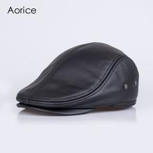 HL042-3  genuine leather men berets cap brand new baseball cap/hat fashion men's real leather adult striped adjustable hats caps