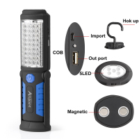 Multifunction USB Rechargeable 36 5 LED Flashlight Outdoor Work Stand Light Magnet HOOK Mobile Power For