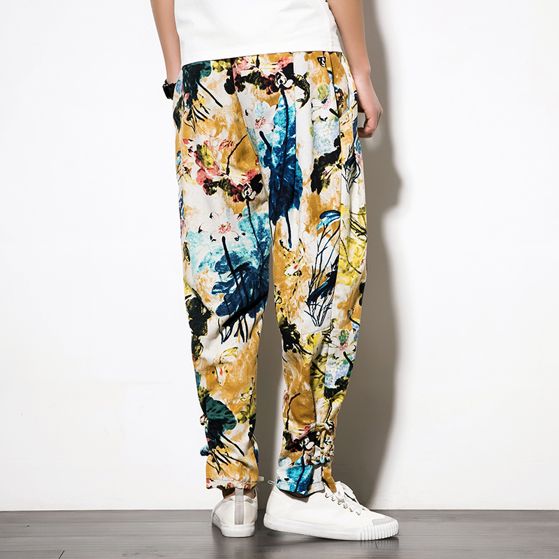 Popular 2018 Spring Summer Japanese Casual Ethnic Style Bound Feet Pankou Flower Loose Pants Nation Wind Cotton Trousers Men