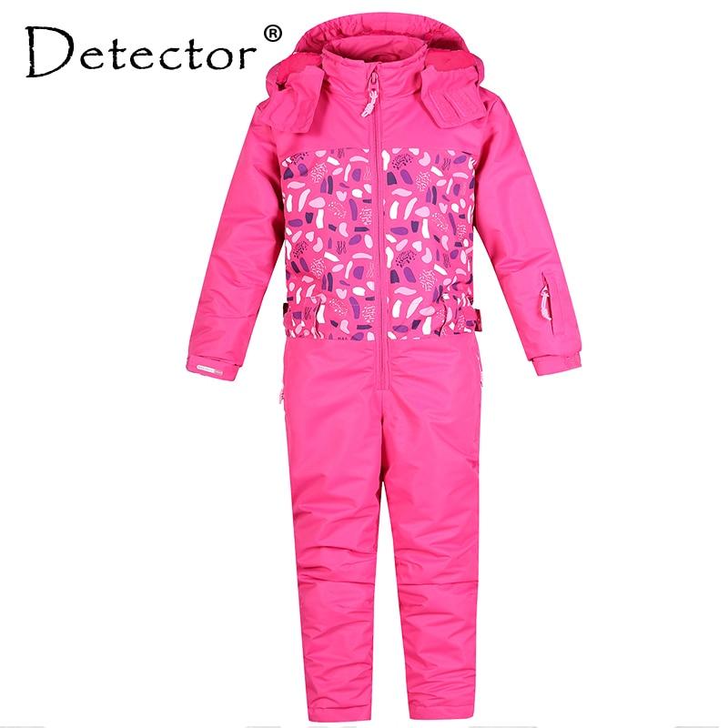 Detector Girl Ski Suit Waterproof Windproof Ski Snowboard Bid Warm Thermal Kid Hooded One-piece Little Children Clothing