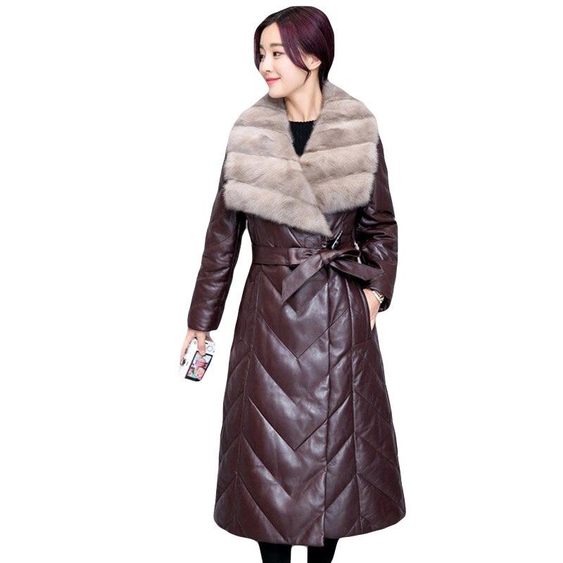 Taille Haute Plus Noir La Parka Veste En De Épais Femelle Vison Outerwearm Femmes bourgogne Fourrure 4xl Longue Imitation 2018 Col Cuir D'hiver Qualité vfWqYw801P