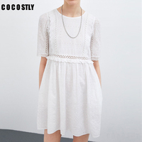 Women Lace Embroidery Sexy Dress Ruffle Sleeve Causal White Cotton Mini Dresses Hollow Out Short Dress Vestidos 2019 New