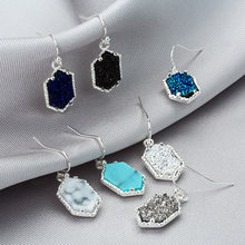 14 Colors Drusy Druzy Earings Imitation Resin Crystal Stone Hexagon Dangle Gold Silver Plated Brand Jewelry for Women 2019(China)