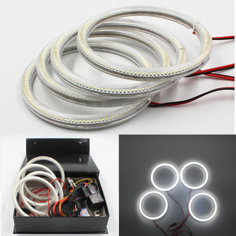 FSYLX 4x106mm 120smd led angel eyes for bmw e46 2D SMD LED halo rings full circle 106mm led angel eyes for bmw E46 Cabrio one pair led rgb halo controle angel eyes ring 2x 40 50 60 66 72 75 80 90 100 105 115 120 125 140mm led halo rings full circle