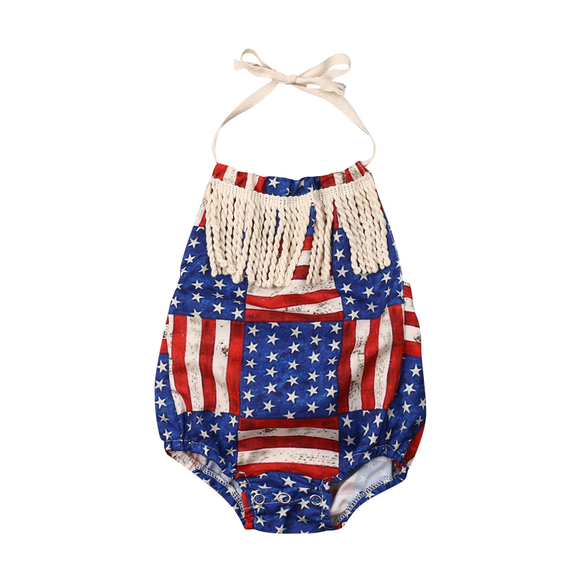 4th of July   Rompers   Baby Infant American Flag Star Stripe Tassel Jumpsuit   Romper   Independence Day Backless Summer Clothes