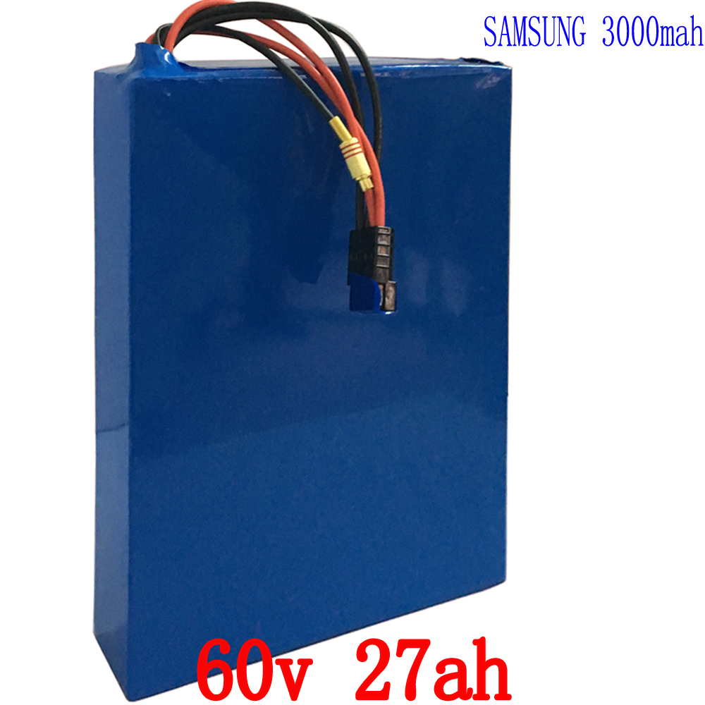 Free customs fee 60V Scooter Battery 60V 27AH Electric Bike Battery Use Samsung for 3000mah cell 50A BMS and 5A Charger free customs fee 24v 20ah lithium ion battery pack 24 v 20ah battery use 2500mah 18650 cell 30a bms with 3a charger