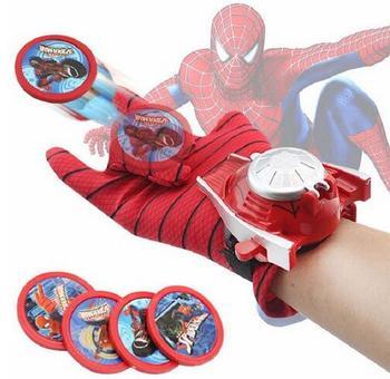 цена kids Spiderman Cosplay Costume Spider-man glove Spider man batman superman launchers toy emitter halloween gift онлайн в 2017 году