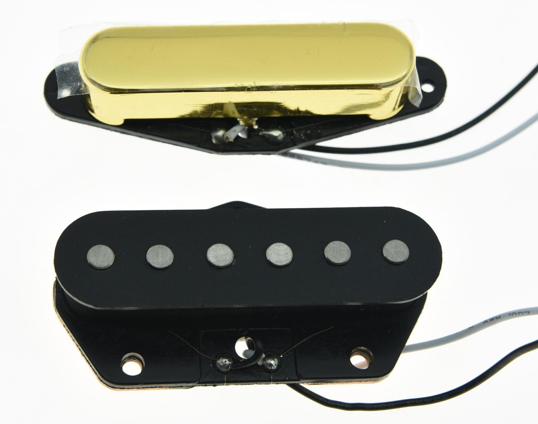 KAISH Set of 2 Vintage Sound Pickup Alnico 5 Tele Pickups Set Fits for Telecaster Gold kaish black p90 high power sound neck