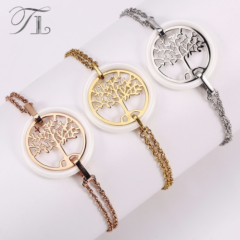 цены TL Hot Sale Life Tree Ceramic Bracelet Stainless Steel Hollow Life Tree Flake White Ceramic Circle Charm Bracelet For Women Gift