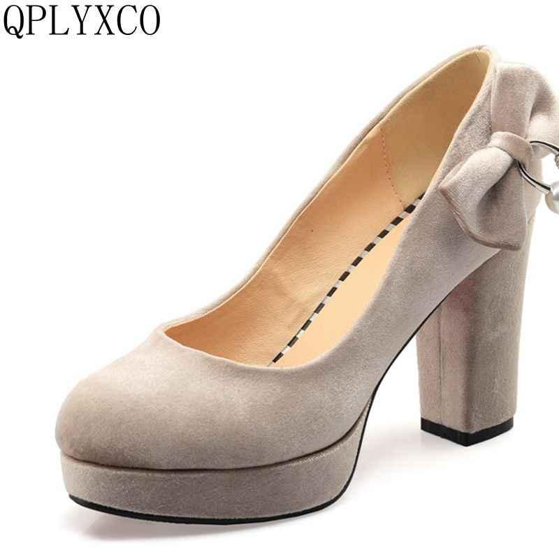 QPLYXCO 2017 Yeni Zarif Büyük boy 33-43 yüksek topuklu kadın ayakkabıları Pompalar Düğün Parti Bayanlar Ayakkabı Kadın Topuklu Ayakkabı C71