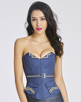 Women clothing button Corset&Bustier Gold with decorative edge corset Steampunk bustier sexy Corselet Strapless bustier corset