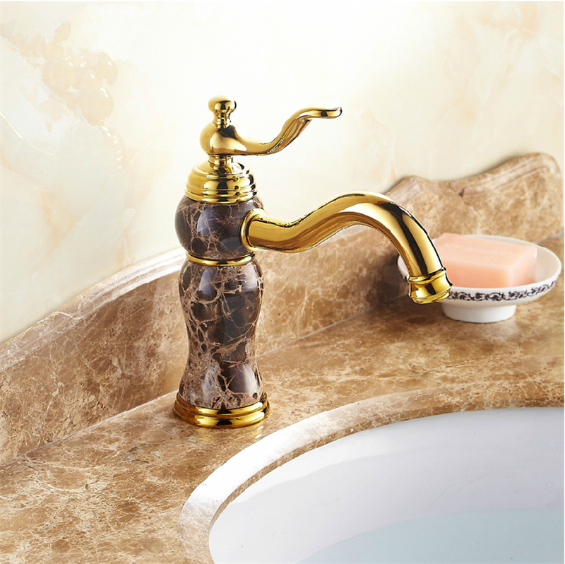 Black Taps Marble Stone Finish Brass Faucet Deck Mounted Bathroom Mixering Faucet M1018Black Taps Marble Stone Finish Brass Faucet Deck Mounted Bathroom Mixering Faucet M1018