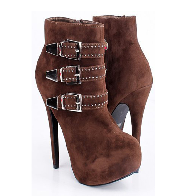 ФОТО Ladies Boots 2017 Winter Casual Round Toe Luxury Rhinestone Buckle High Heels Platform Ankle Boots For Women Plus Size Zip Shoes