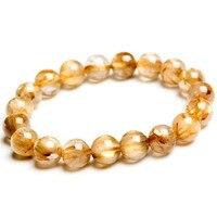 11mm Genuine Brazil Yellow Gold Hair 100% Natural Stone Titanium Rutilated Quartz Crystal Round Bead Bracelets Just One