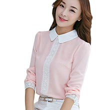 Cut Peter Pan Collar Women Chiffon Blouse Office Shirts Lace Crochet Desigual Long Sleeve Pink Blusas Plus Size Top MF78321