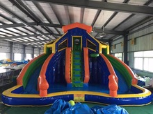 (China Guangzhou) manufacturers selling inflatable slides, inflatable castles, Pool slide CB-79 inflatable biggors inflatable double lane slide stuck in pool for sale