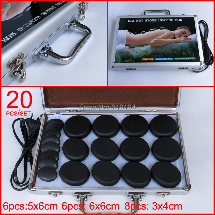 HOT! 20pcs/set body Massage stones ysgyp-nls with heater box CE and ROHS high quality 18pcs set jade body massage hot stone face back massage plate salon spa with heater box 220v ysgyp nls