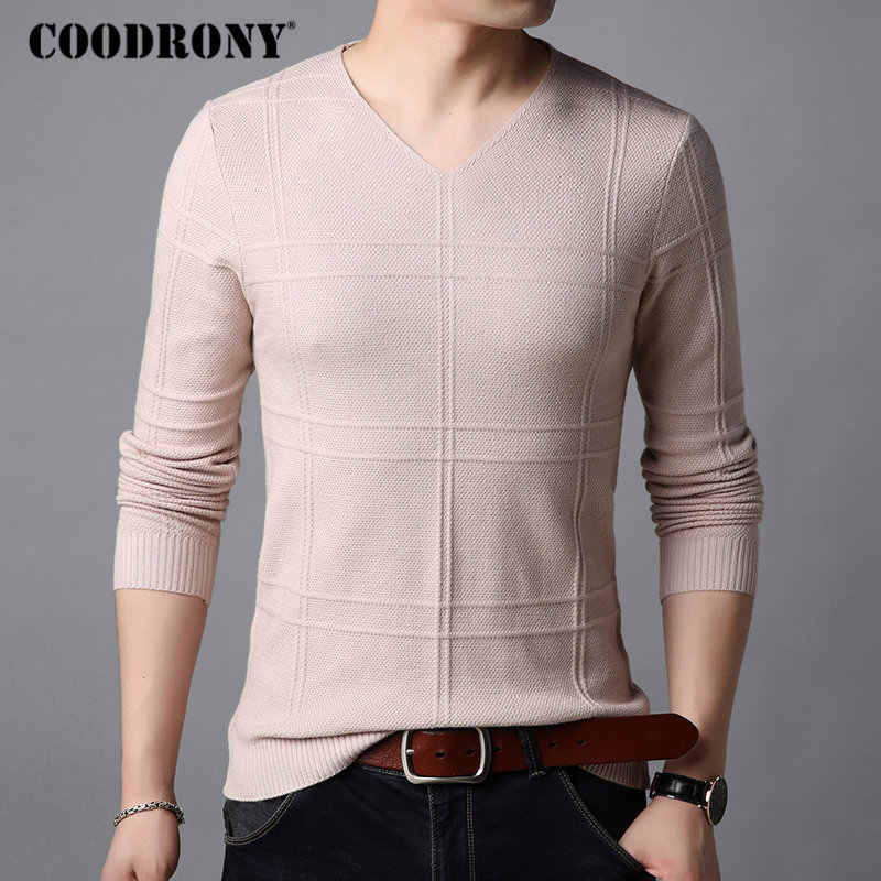 COODRONY Sweater Men Knitted Cotton Wool Pullover Men 2018 Autumn Winter Casual Striped V-Neck Pull Homme Long Sleeve Shirt B005