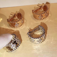 Hot Brand Pure 925 Sterling Silver For Women Full Flower Earrings Clover Wedding Party Round Screw Back Earrings 16MM