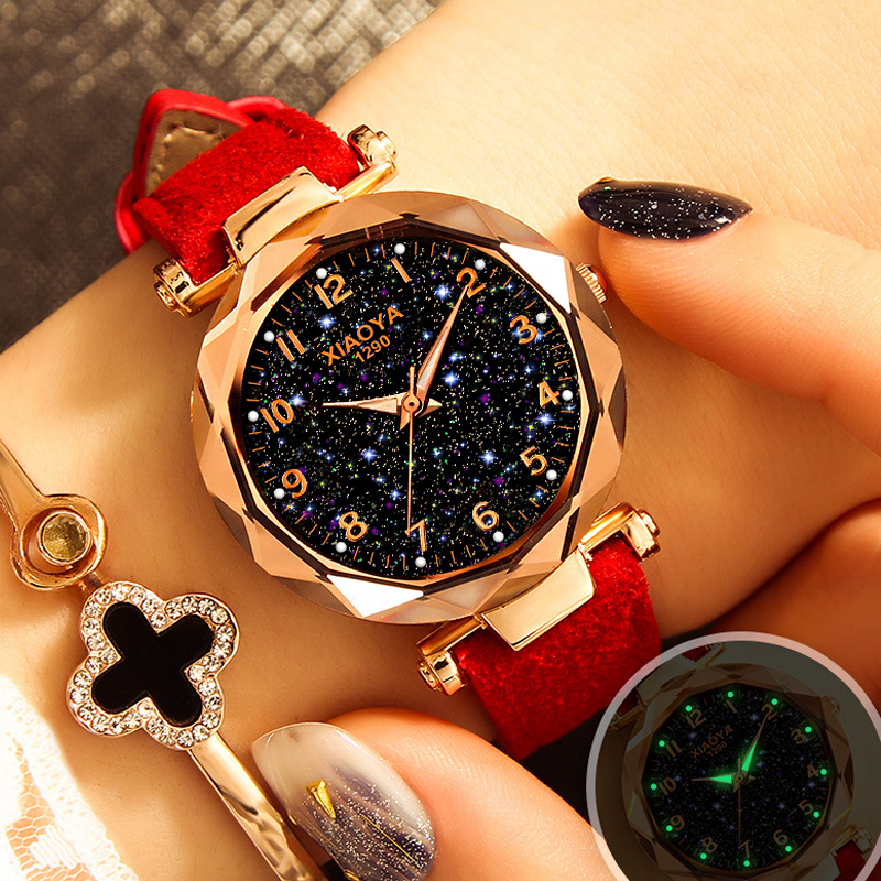 Luxury Starry Sky Watch For Women Fashion Quartz Wristwatch Ladies Casual Leather Strap Creative Watches Relogio Feminino