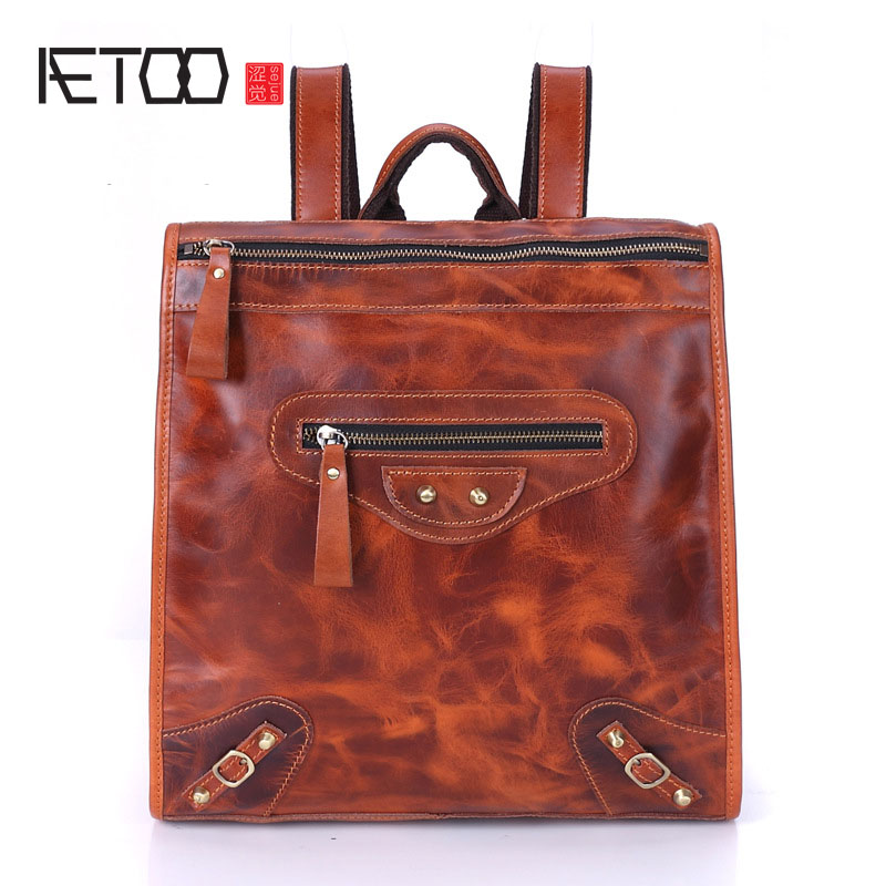 AETOO New Korean fashion leather men and women backpack head layer of leather casual shoulder bag retro school wind bag aetoo leather men bag wild european and american first layer of leather men s shoulder bag trend backpack