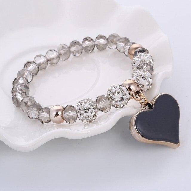 Crystal Beads Bracelets Elastic Love Heart Pendant Charm Bracelets Bangles Fashi