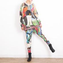 Женский вязаный свитер с круглым вырезом и цветочным принтом, модный осенний женский костюм из двух частей, Винтажный женский свитер размера плюс