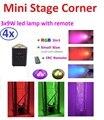 4 xLot Free Доставка Mini Led Свет Этапа Par Led 3x9 W 3in1 Супер Яркий RGB Led Углу Лампы с ИК-Пульт Дистанционного DMX DJ Проектор