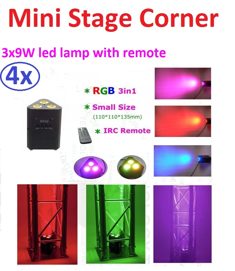 4xLot Free Shipping Mini Led Stage Light Par Led Can 3x9W 3in1 RGB Super Bright Led Corner Lamp with IR Remote DMX DJ Projector niugul dmx stage light mini 10w led spot moving head light led patterns lamp dj disco lighting 10w led gobo lights chandelier