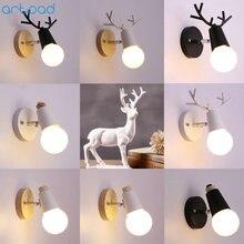 Artpad Creative Nordic Deer Wall Lamp Black White AC110C-220V E27 LED Coffee Cake Shop Children Room Bedside Light Home Lighting
