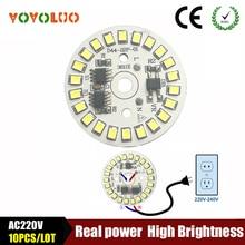 10 шт./лот SMD 2835 Светодиодная лампа чип свет Смарт IC мощность 220 В 5 Вт 7 Вт 9 Вт 12 Вт 15 Вт светодиодные лампы для внутреннего прожектора белый/теплый белый