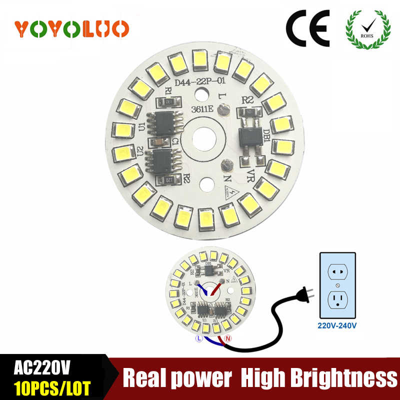 10PCS/LOT SMD 2835 LED Lamp Chip light Smart IC Power 220V 5W 7W 9W 12W 15W Led lamps For indoor FloodLight White / Warm White