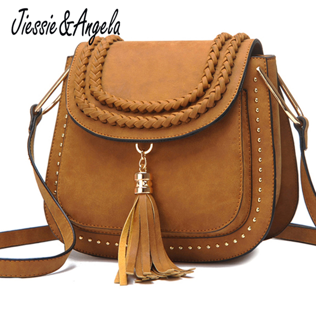 866e659860 Jiessie   Angela Hot Sale Tassel Women Bag Leather Handbags Cross Body  Shoulder Bags Fashion Messenger Bag Women Vintage Handbag