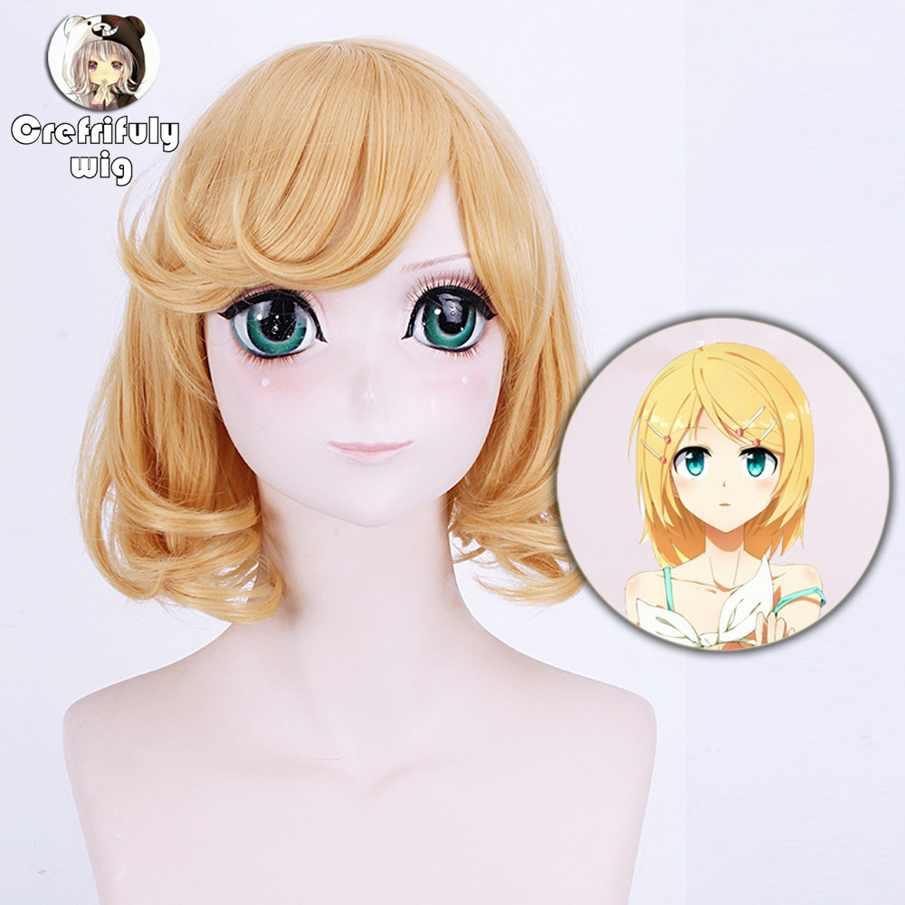 Vocaloid Kagamine Len Cosplay Wig For Man Short Straight Blond High Quality Heat Resistant Synthetic Wig With Ponytail Anime Home
