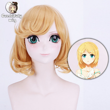 Anime VOCALOID Kagamine Len Rin Golden Blonde Cosplay Wig Costume Heat Resistant Synthetic Hair Cos Wigs Peruca Free Shipping цена