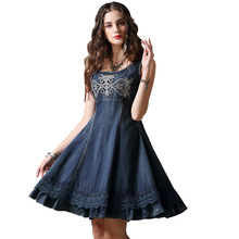 MUXU Summer vintage denim dress vestidos mujer patchwork fashion sundress embroidery women clothing vetement 2018