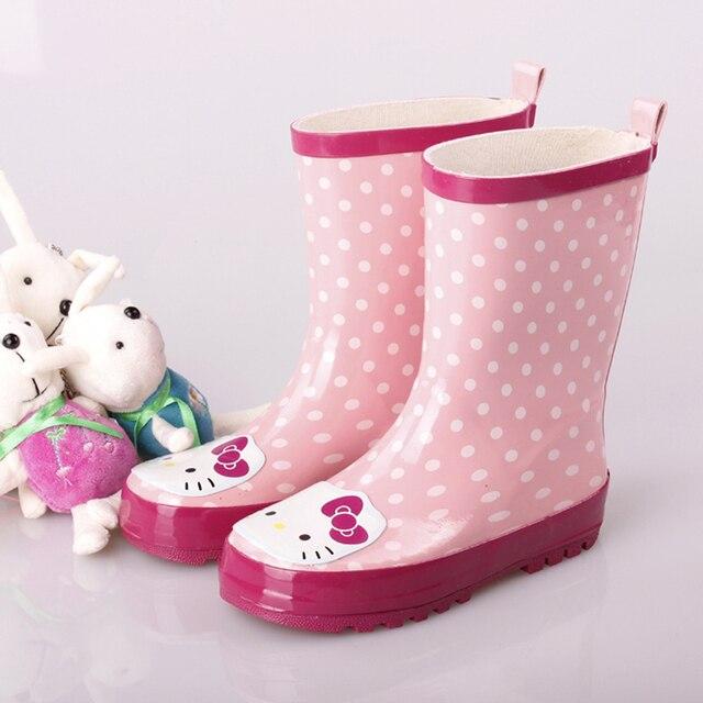 WORLDHUOR Девушки Сапоги Детская Одежда Обувь Резиновая Мультфильм Cat Резиновая Мода Мягкие Детские Дождь Сапоги Для Девочек Обувь Резиновая Babys Обувь