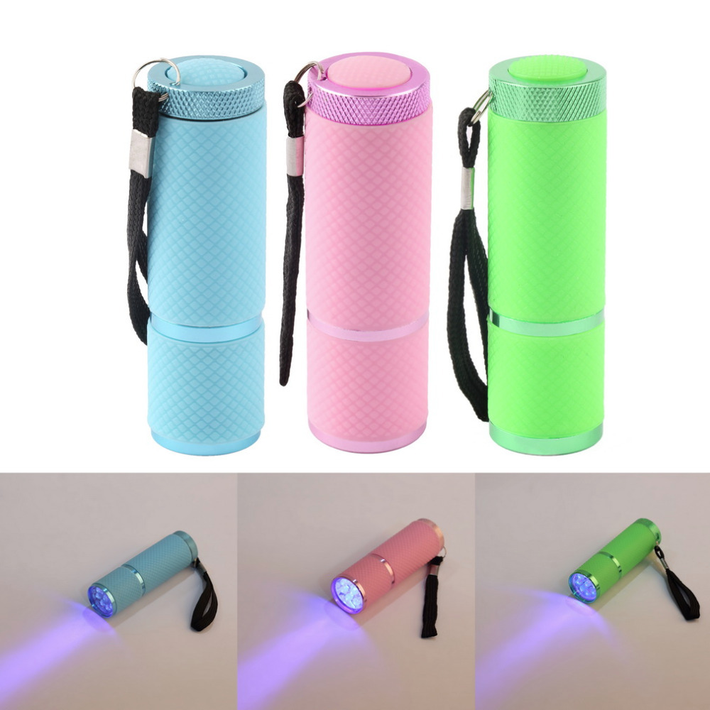 Mini LED Flashlight Lamp Nail Dryer Portable for Nail Gel 15s Fast Dry Nail Polish Curing Lamp Aluminum Alloy AAA Battery 9 LED
