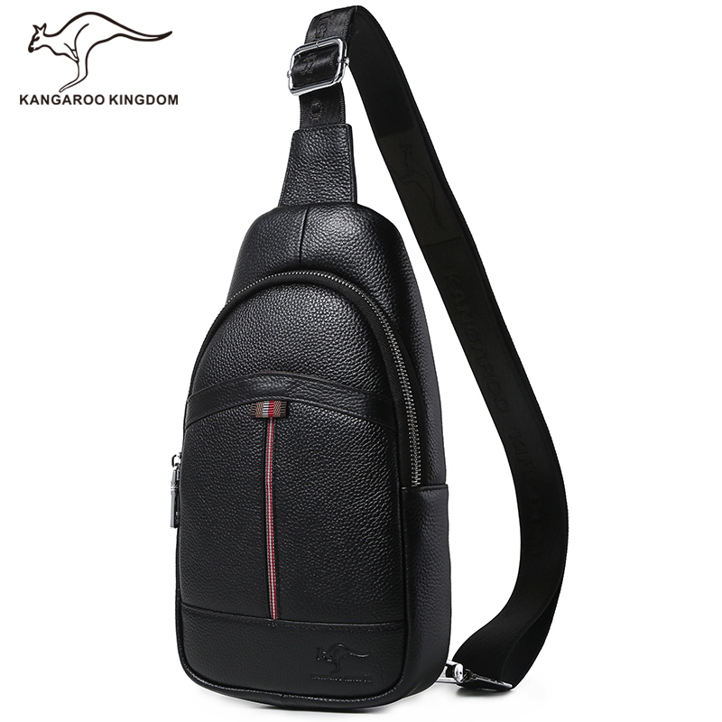 Kangaroo Kingdom Luxury Genuine Leather Bag Men Messenger Bags Business Crossbody Shoulder Bag Chest Pack kangaroo kingdom famous brand nylon men bag chest pack male one shoulder crossbody messenger bags