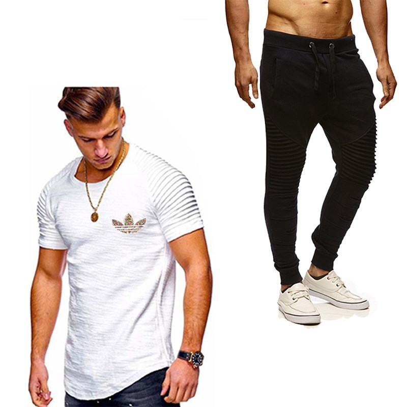 2019 Hot Sale Men's Set T Shirts+Pants Two Pieces Sets Casual Tracksuit New Male Pleated Casual Tshirt Gyms Fitness Trousers Men