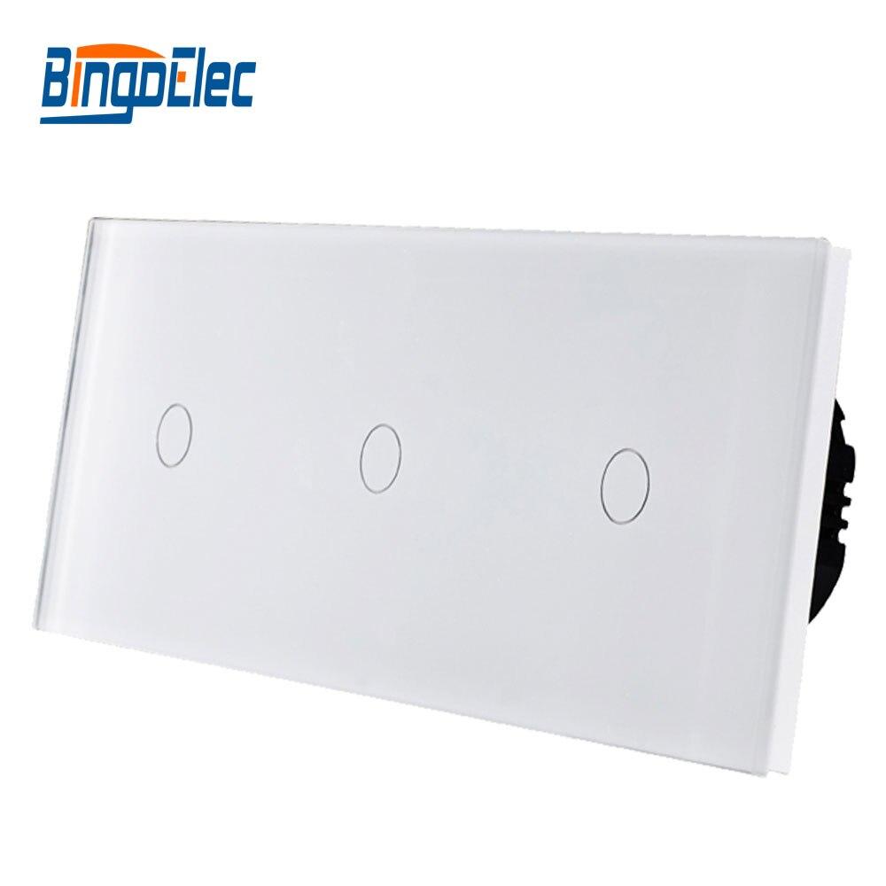 Bingoelec тройной 1 Gang 1/2 сенсорный светильник, роскошная панель из закаленного хрусталя, европейский стандарт, настенный выключатель, 86*228 мм