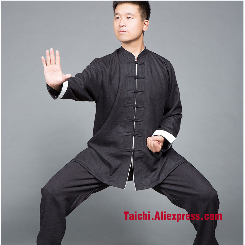098834b12ce11 Linen Wing Chun Tang Suits Martial Arts Kungfu Uniforms Traditional Chinese  Clothing Tai Chi Clothes Black Blue Purple