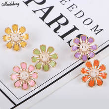 Fashion DIY Beads Alloy Handmade Material Fresh Sweet Smile Face Sunflower Head Jewelry with Pearl Pair Accessory